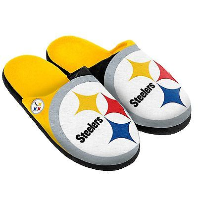 Pair Pittsburgh Steelers Big Logo Slippers NEW - Split Color House shoes!