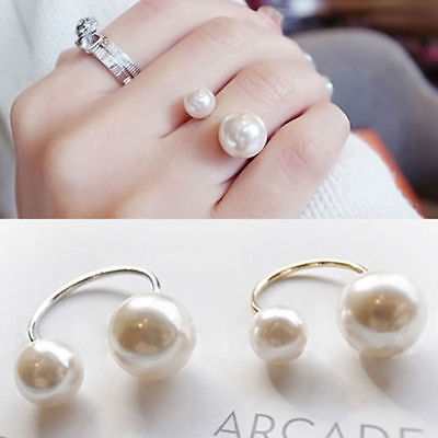 Double Faux Pearls Stylish Chic Cuff Adjustable U Shape Opening Statement Rings