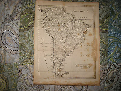 Antique 1809 South America Copperplate Map Amazones New Chili Brazil Andalusia N