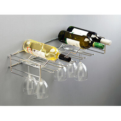 Floating Wine Bottle & Glasses Wall Holder Holds 6 Bottles & 15 Glasses Shelving