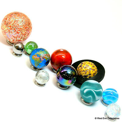 Large Solar System Orrery Planet 11 x Glass Marbles Set -Space Astronomy 14-35mm
