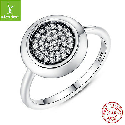 Real 925 Sterling Silver Ring With Round White CZ Clear Zirconia Fashion Jewelry