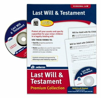 Adams Last Will and Testament with CD, Forms and Instructions (ALFP117) New