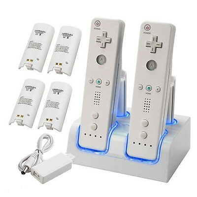 AU Quad Charger Charging Dock Station + 4 Rechargeable Battery For Nintendo Wii