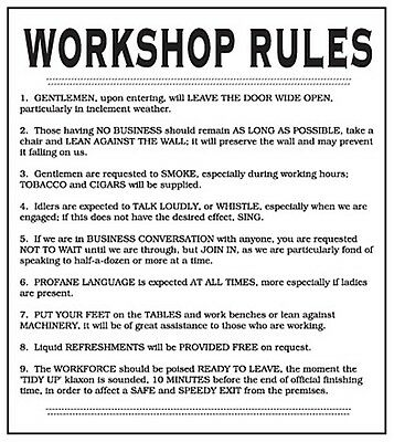 Workshop Rules enamelled steel wall sign  180mm x 160mm  (dp)  REDUCED!