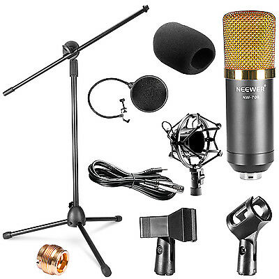 Neewer NW-700 Black Condenser Microphone Kit+ Wind Screen Pop Filter+ Stand