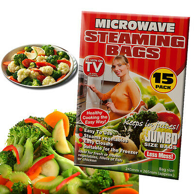 Set Of 15 Microwave Steaming Bags Quick Cooking Healthy Steamer Vegetables Fish