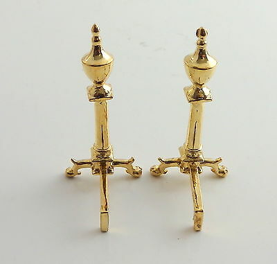 Dolls House Falcon Miniature Fireplace Accessories Pair of Period Brass Andrions