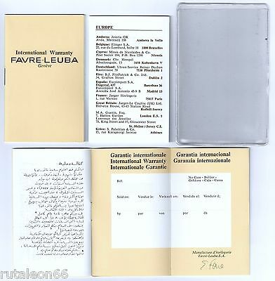 FAVRE-LEUBA 100% genuine vintage papers international warranty UNUSED.