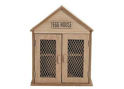 Rustic Natural Brown Shabby Chic Wooden Egg House Storage Holder Kitchen