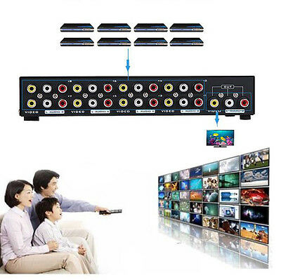 8-Way Composite Video Audio 3 RCA AV Switcher Box Selector 8 In 1 Out for HDTV