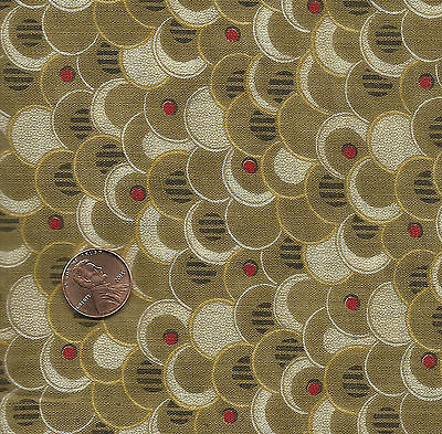 Antique 1870 Shell Shaped Brown Calico Fabric