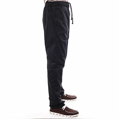 "Mens Trousers Full Elasticated Waist Casual Pants Bottoms Black 34""-40"""