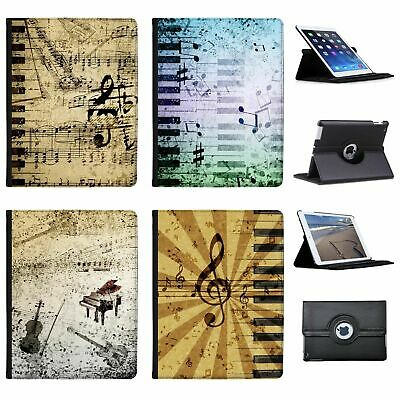 Vintage Grunge Music Notes Folio Cover Leather Case For Apple iPad Tablet