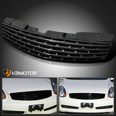 For 2003-2007 Infiniti G35 2Dr Coupe Black Front Bumper Hood Grill Grille
