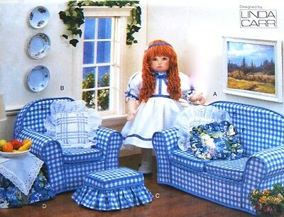"""Vogue 9504 18"""" Girl Doll Living Room Sofa Furniture Toy by Linda Carr - Uncut"""