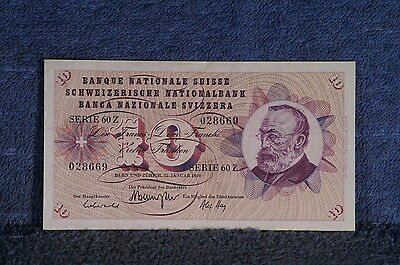 1969 10 Franken Switzerland Note