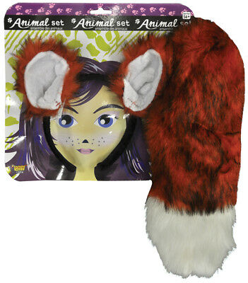 Red & White Fur Fox Ears And Tail Set Costume Kit Fm68604