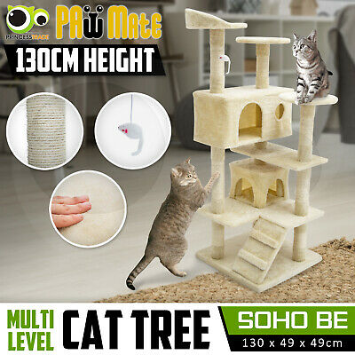 Cat Tree Scratching Post Scratcher Pole Gym House Furniture Multi Level 132cm BE