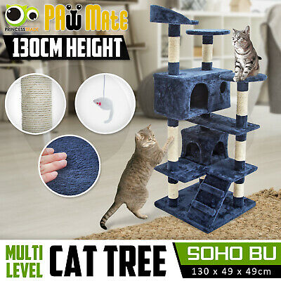 Cat Tree Scratching Post Scratcher Pole Gym House Furniture Multi Level 132cm BU
