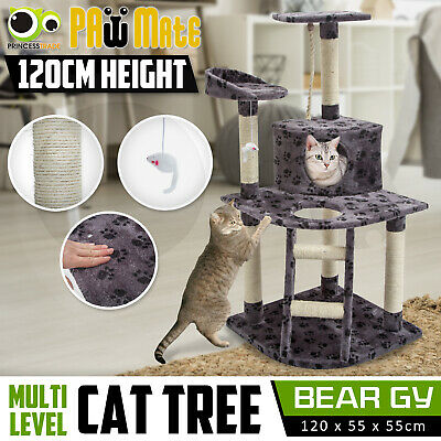 Cat Tree Scratching Post Scratcher Pole Gym House Furniture Multi Level 120cm GY