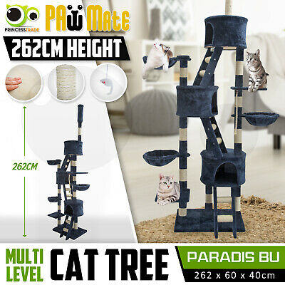 Cat Tree Scratching Post Scratcher Pole Gym House Furniture Multi Level 260cm BE