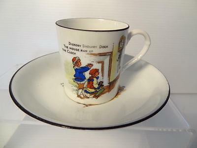 EUSANCOS HUGHES CHINA 1930s CUP & SAUCER  HICKORY DICKORY/MARY HAD A LITTLE LAMB