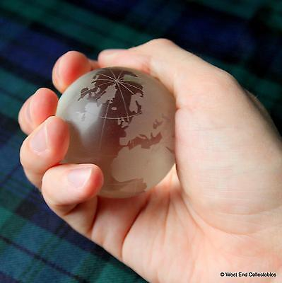 "Massive 60mm (2.4"") Etched Glass Globe Marble & Stand - Detailed Planet Earth"