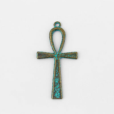 4 ANKH EGYPTIAN CROSS Antique Green Bronze Large Charms Pendant Beads