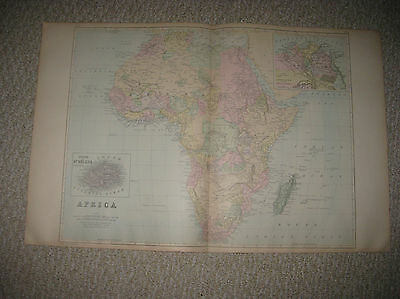 Huge Gorgeous Antique 1887 Africa Mitchell Handcolored Map Egypt St Helena Rare