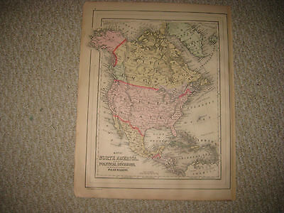 Antique 1887 North America Mitchell Handcolored Map United States Texas Canada N