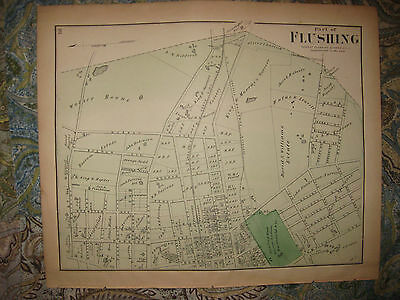 Antique 1873 Flushing Queens New York City Handcolored Map Private Insane Asylum