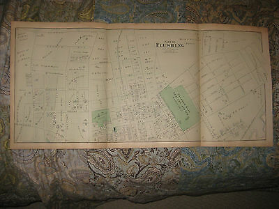 Huge Antique 1873 Flushing Queens New York Handcolored Map W Insane Asylum Rare