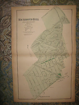 Large Superb Antique 1873 Richmond Hill Queens New York Handcolored Map Rare Nr