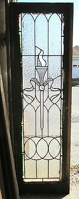 ~ Antique American Stained Glass Window Torch 16 X 51 Architectural Salvage ~
