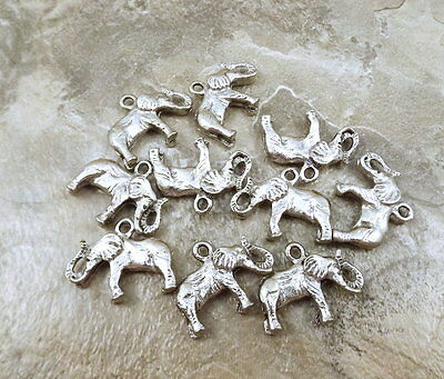 Set of Ten (10) Pewter Elephant  Charms - 5081