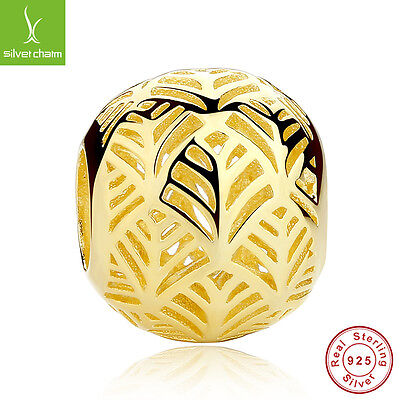 14k Gold Palm Leaf Bead Charms With Authentic 925 Sterling Round Ball Gold Beads
