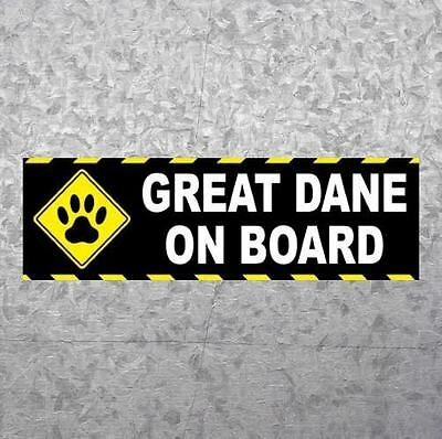 "New ""GREAT DANE ON BOARD"" dog breed BUMPER STICKER, car decal, funny, sign, gift"