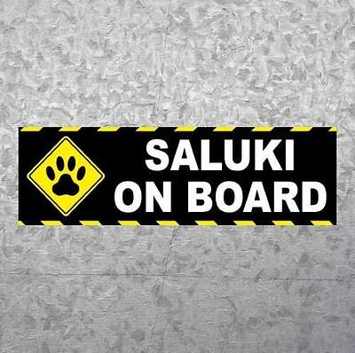 "New ""SALUKI ON BOARD"" dog breed BUMPER STICKER, car decal, puppy, funny, sign"