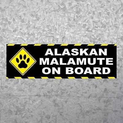 "New ""ALASKAN MALAMUTE ON BOARD"" sled dog BUMPER STICKER, car decal, sign, puppy"
