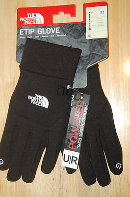 the north face mens etip touchscreen compatible gloves black medium NEW