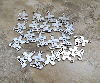 "Set of 20 Pewter Charms - ""AUTISM"" PUZZLE PIECE - 1117"