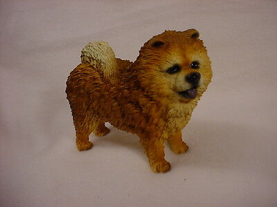 CHOW CHOW Dog HAND PAINTED FIGURINE Resin Statue Collectible RED brown Puppy NEW