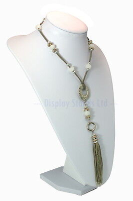 Extra Large White PU Leatherette Necklace Display Bust Stand 36cm tall (G213W)