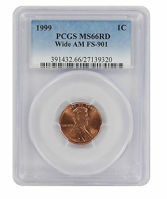 1999 Lincoln Cent MS66RD PCGS Wide AM FS-901 Cherrypicker Variety MS66RD