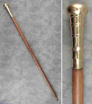 "WALKING STICK CANE Polished BRASS KNOB HANDLE BROWN HARDWOOD ~ 38 3/4"" Tall ~"