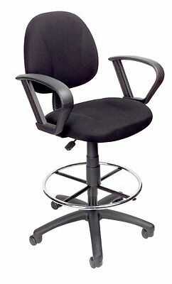Boss Office Products Black Drafting Stool With Footring And Loop Arms B1617-BK