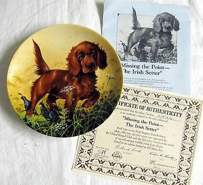 IRISH SETTER ~ 1988 Knowles Plate ~ Field Puppies Set with Box and COA