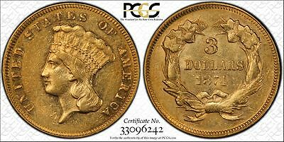 1874 $3 Indian Princess Head Gold  Coin Certified PCGS SECURE AU 55