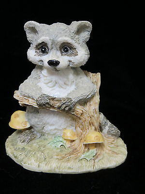 Happy Raccoon by Stump Mushrooms Cast Resin Figurine Artmark Animal Forest